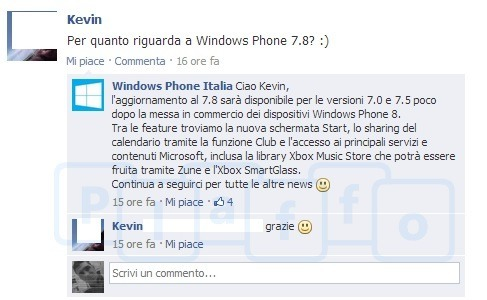 Facebook Windows Phone Italien