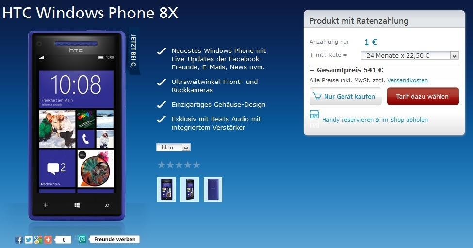 HTC 8X bei O2