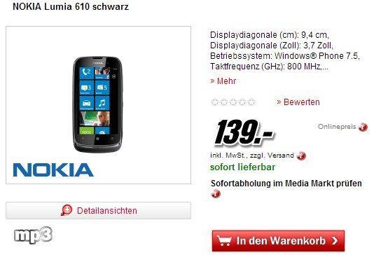 Deal: Nokia Lumia 610 bei Media Markt und Saturn für 139 Euro