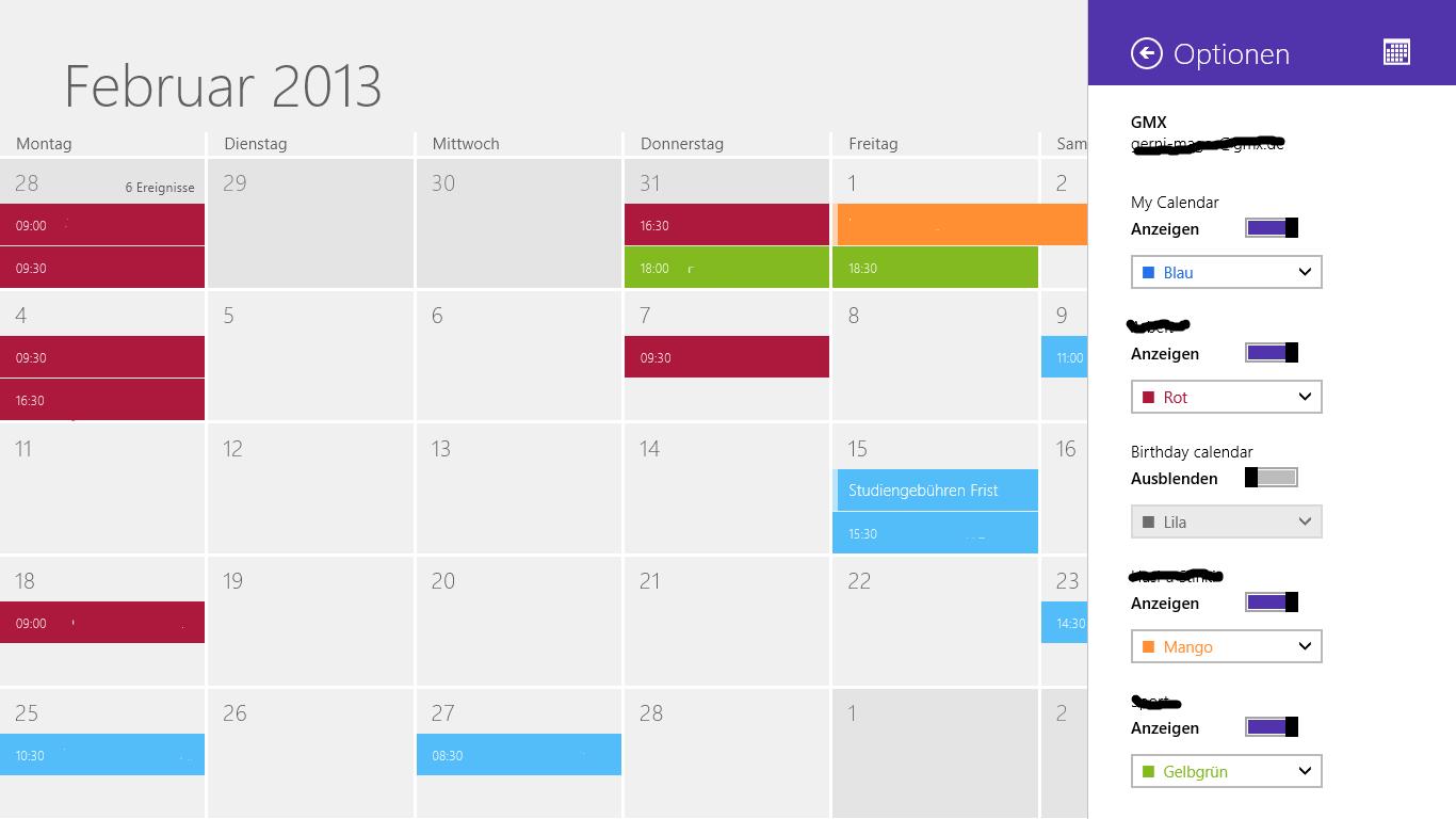 Tipp: Mehrere Kalender verwenden