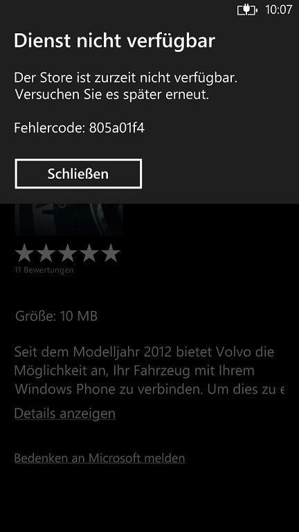 WIndows Phone Store Fehler 805a01f4