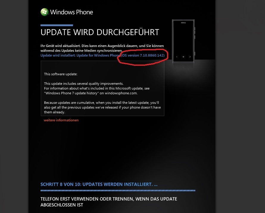 Windows Phone 7.8 Bugfix Update Screenshot