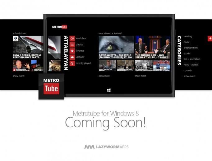 App-News: Metrotube bald für Windows 8, Facebook, Couchfunk, Nokia Musik & Lock Widgets erhalten Update