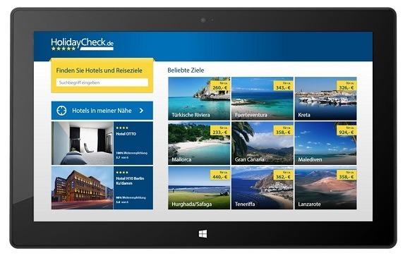 HolidayCheck App Windows 8RT Surface
