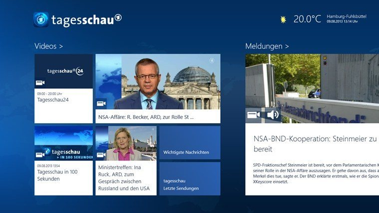 Tagesschau Windows 8 - Screenshot