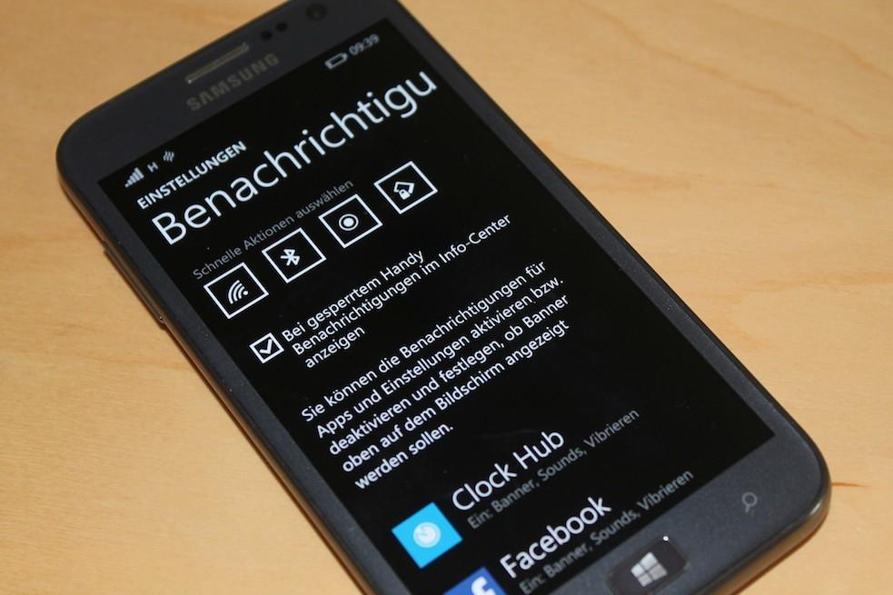 Samsung ATIV S Windows Phone 8.1 Benachrichtigungen Einstellungen