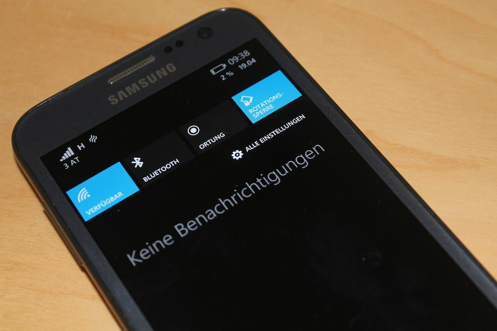 Samsung ATIV S Windows Phone 8.1 Info-Center Action-Center