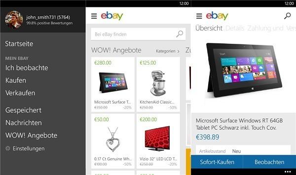 ebay ver ffentlicht lange erwartetes update f r windows phone 8 app. Black Bedroom Furniture Sets. Home Design Ideas