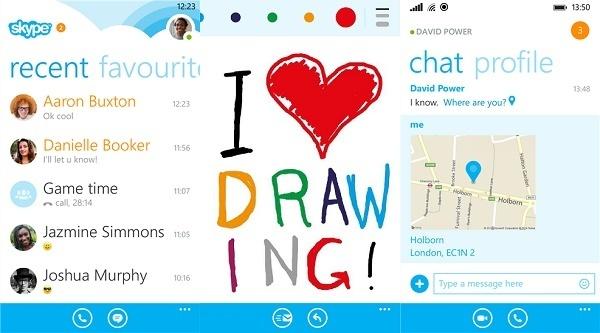 Skype WP 8 Update Zeichnen