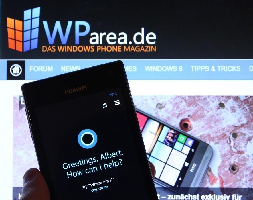 Cortana auf Windows Phone 8.1, begrüßt den Albert.