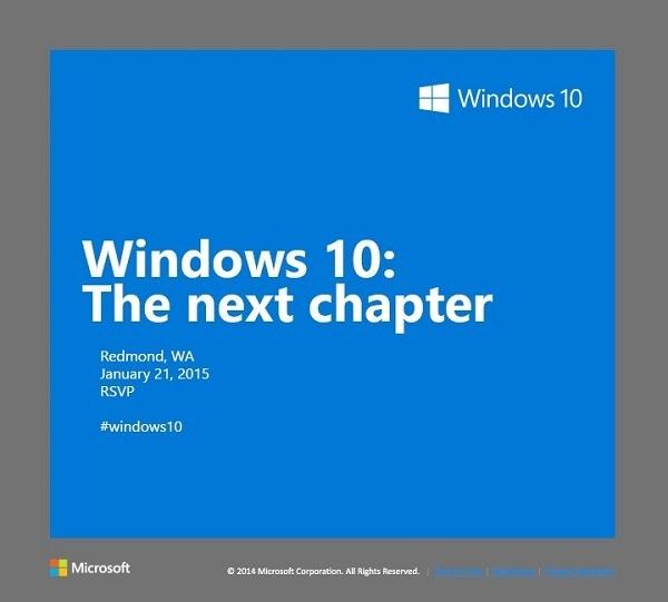 Microsoft lädt zur Windows 10 Pressekonferenz am 21. Januar