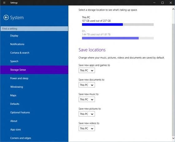 Windows 10 Storage Sense 9901 Build