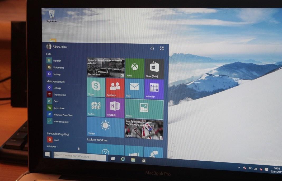Startmenü einer frühen Windows 10 Beta-Version. Daran erkennt man, wie weit Windows 10 über die Jahre gekommen ist.