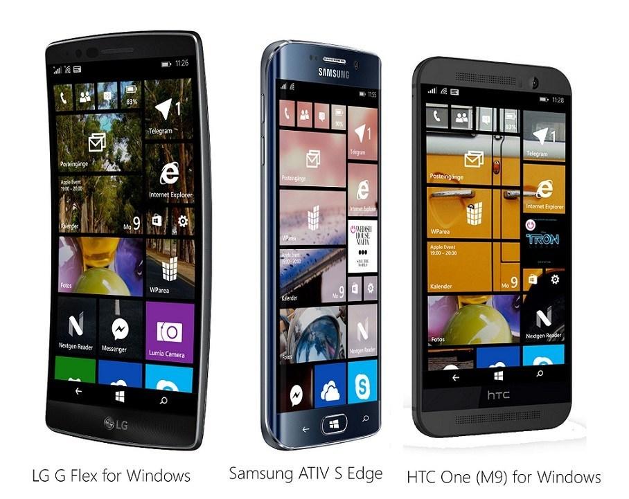 High-End Windows Phone Samsung ATIV S Edge LG G Flex for Windows HTC One M9 for Windows Mockup WParea.de -
