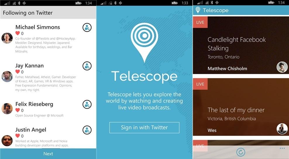 Telescope für Windows Phone Periscope Twitter