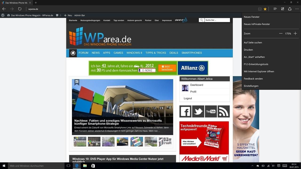 Windows 10 Desktop Edge Browser