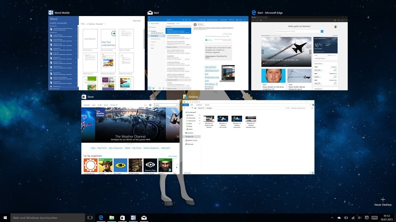 Windows 10 Desktop Multitasking