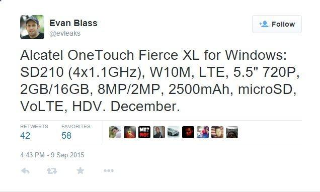 Twitter Evan Brass Leak Windows 10 Alcatel OneTouch Fierce XL