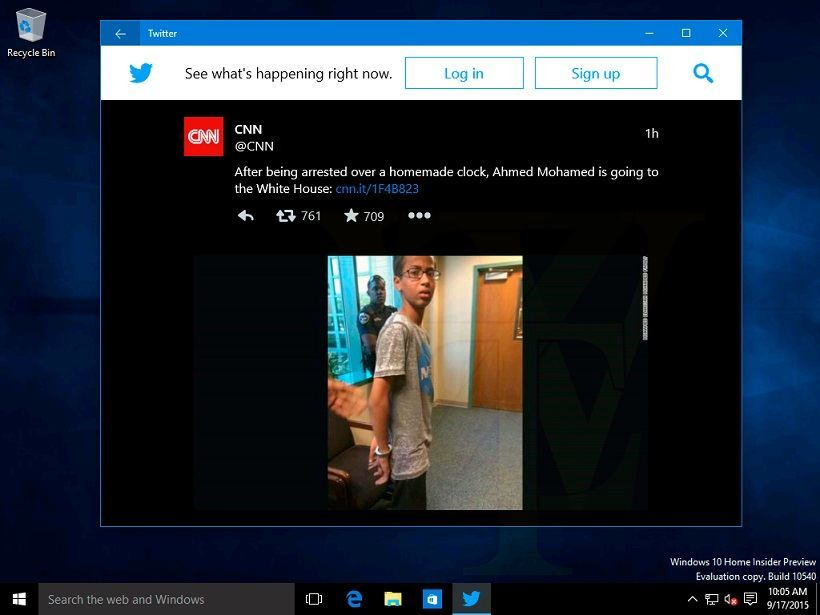 Windows 10 Build 10540 Twitter-App