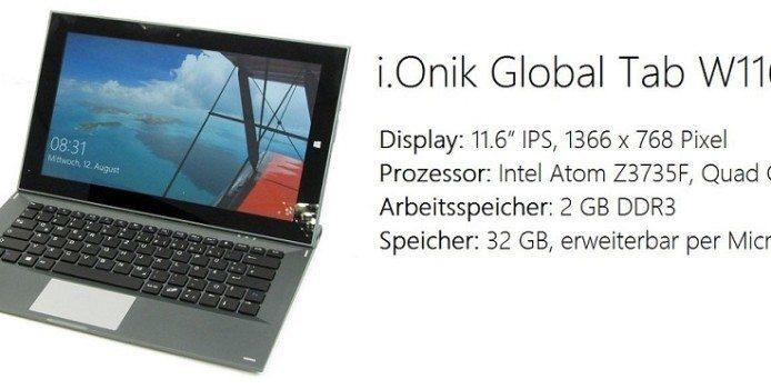 i.Onik Global Tab – Günstiges 11,6-Zoll Hybrid-Tablet mit Windows 10 nun erhältlich
