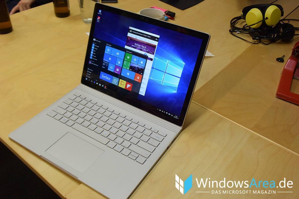 Microsoft Surface Book front tastatur display startmenü