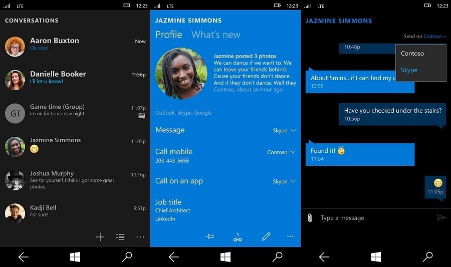 skype in nachrichten app f r windows 10 mobile integriert. Black Bedroom Furniture Sets. Home Design Ideas