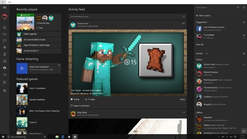 Windows 10 Xbox App Minecraft