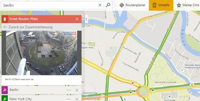 Bing Maps bietet Zugriff auf etliche Verkehrskameras