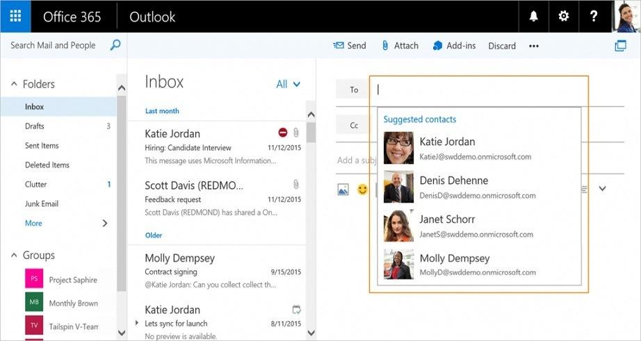 Outlook Web Vorgeschlagene Kontakte Update