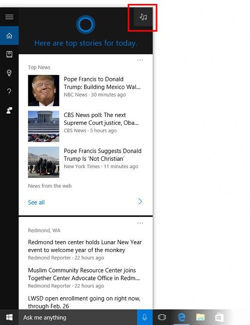 Cortana Musiksuche