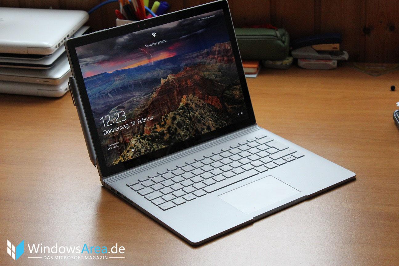 Microsoft Surface Book Review Test Deutsch Display Lockscreen Windows Hello