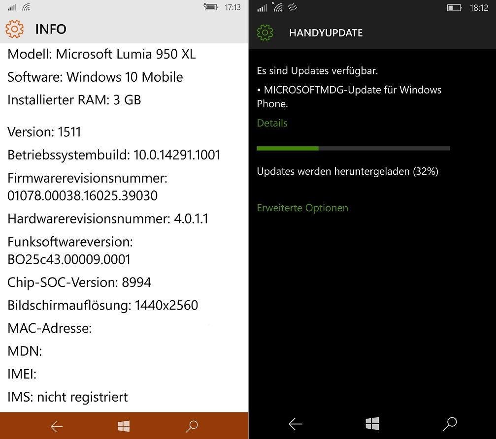 Firmware-Update März 2016 Lumia 950