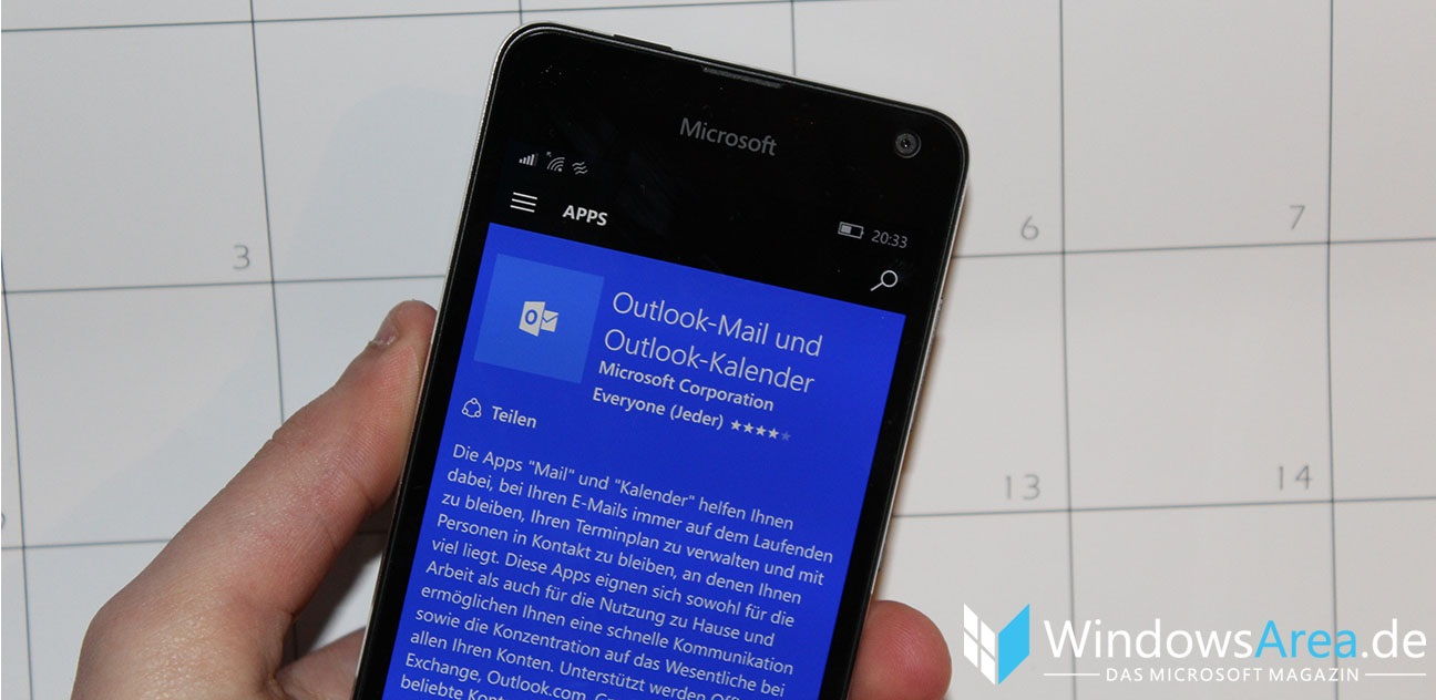 Outlook Mail und Kalender Windows 10 Mobile