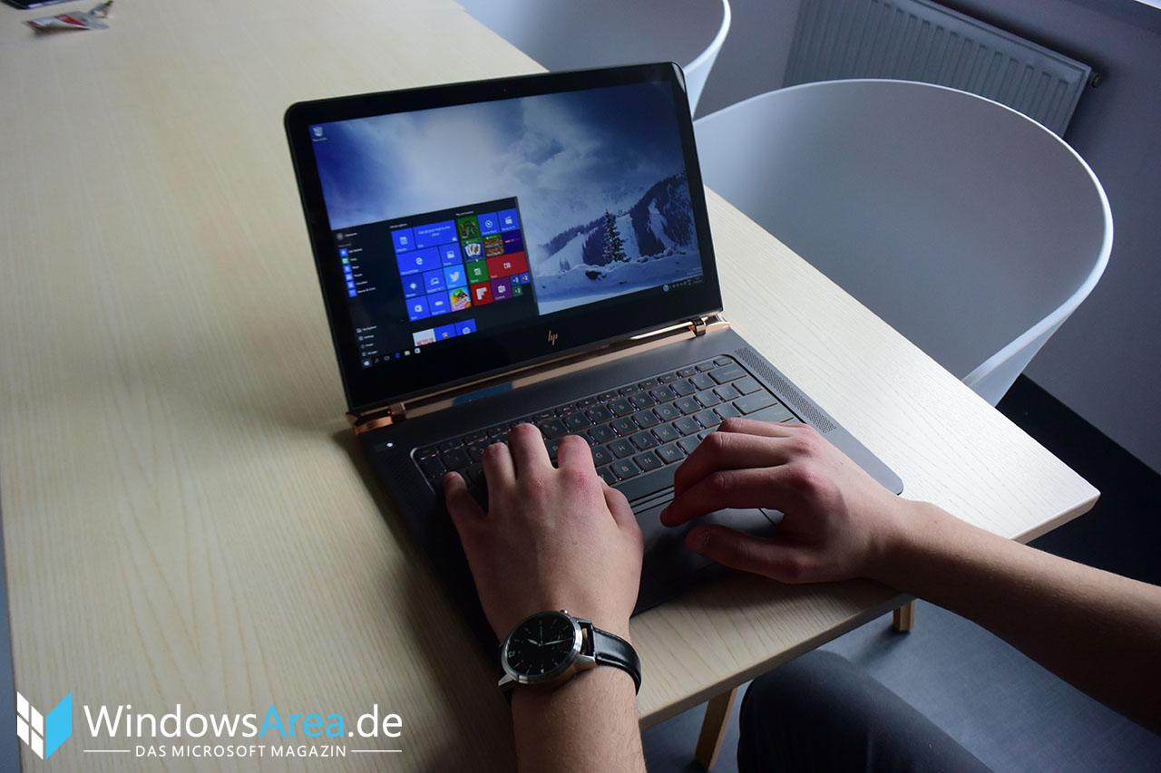 HP Spectre 13 Hands-On Erster Eindruck Display Front Tastatur