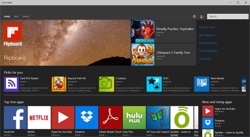 Microsoft Windows 10 Store dunkles Design
