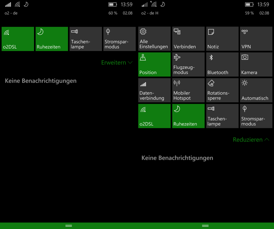 Windows 10 Mobile 10586 Action-Center Info-Center Benachrichtigungszentrale