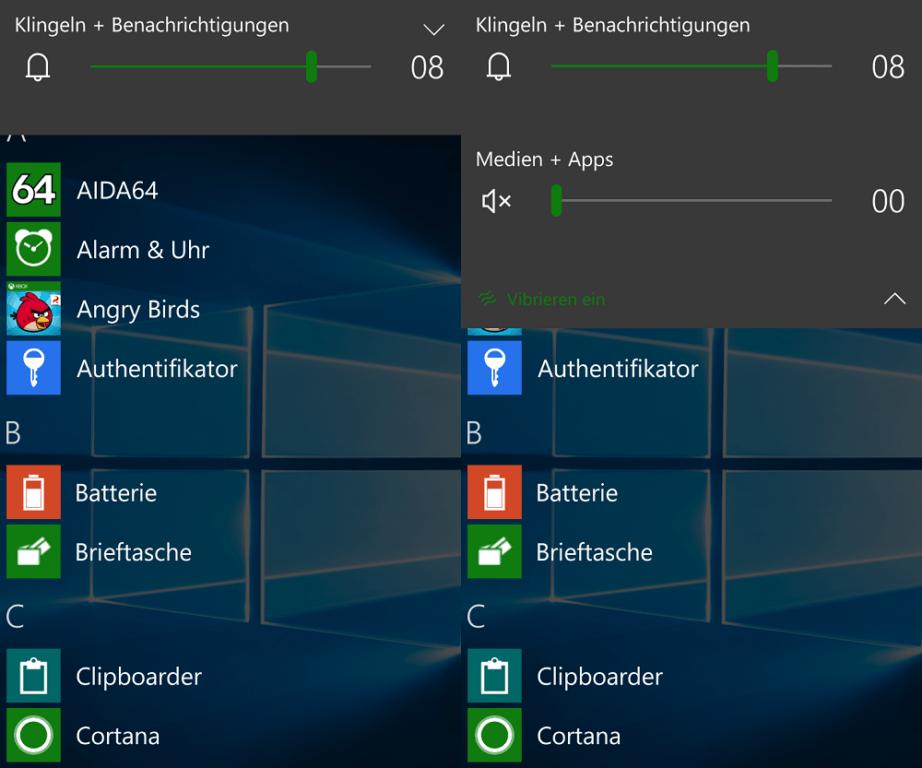 Windows 10 Mobile 10586 Lautstärke Benachrichtigungen Töne Regelierung