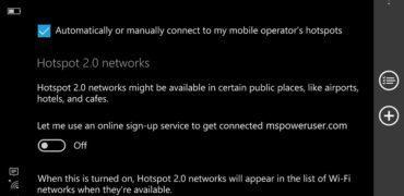Windows 10 Mobile Anniversary Update WLAN Hotspot 2.0