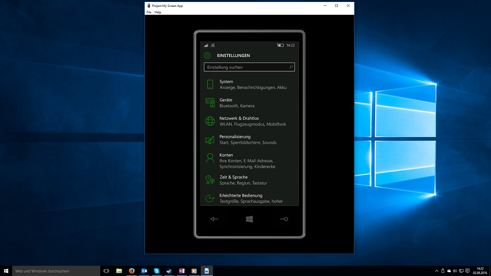 Windows 10 Mobile Einstellungen ProjectMyScreen App