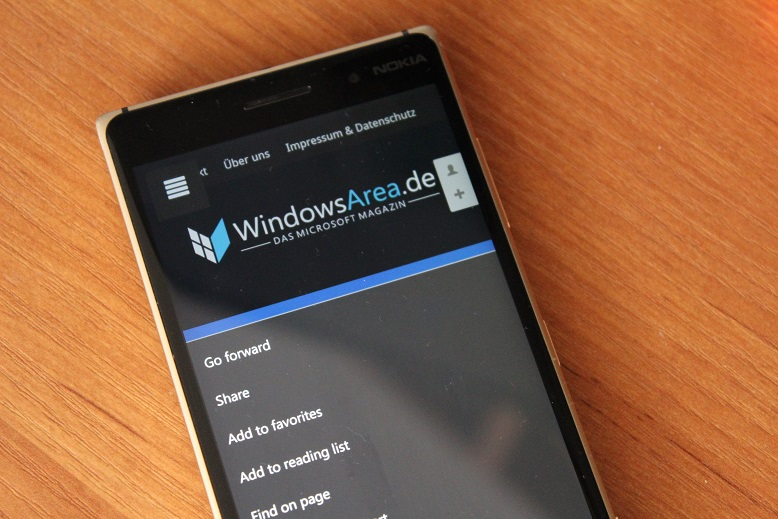 Windows 10 Mobile Microsoft Edge Vorwärts Button