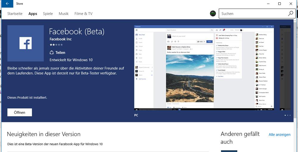 erste eindr cke der facebook beta app f r windows 10. Black Bedroom Furniture Sets. Home Design Ideas