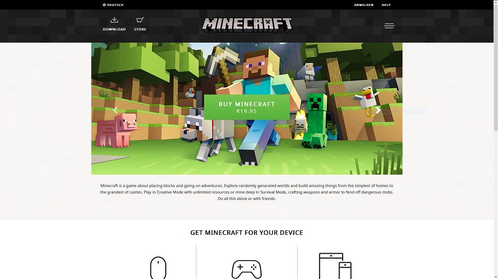 Minecraft.net neu