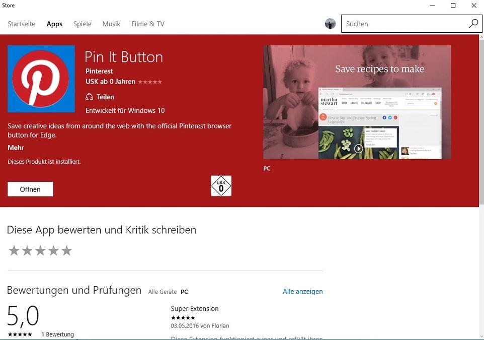 pin it button ist die erste edge erweiterung im windows store. Black Bedroom Furniture Sets. Home Design Ideas