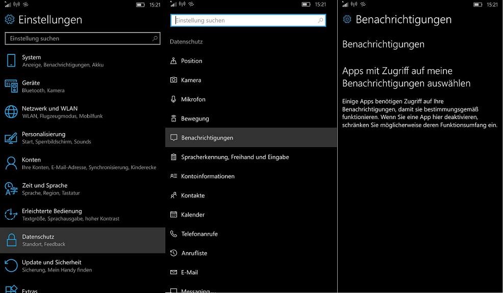 App Benachrichtigungen Zugriff Windows 10 Mobile
