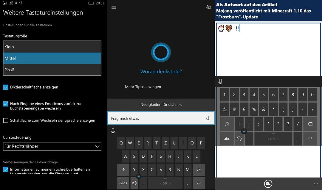 Tastaturgröße Windows 10 Mobile Einstellungen