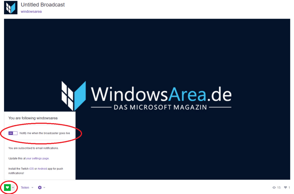 WindowsArea Twitch folgen PC