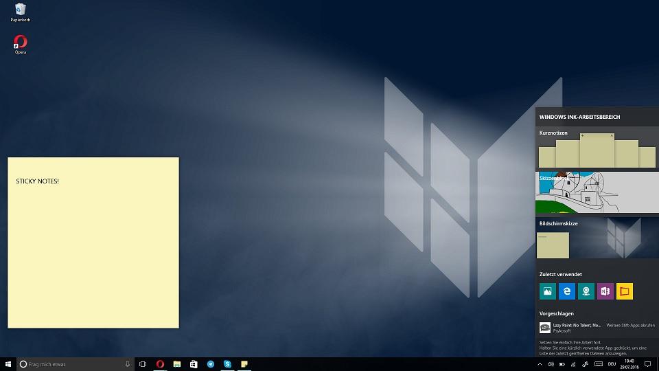 Anniversary Update Features Liste Windows Ink Workspace