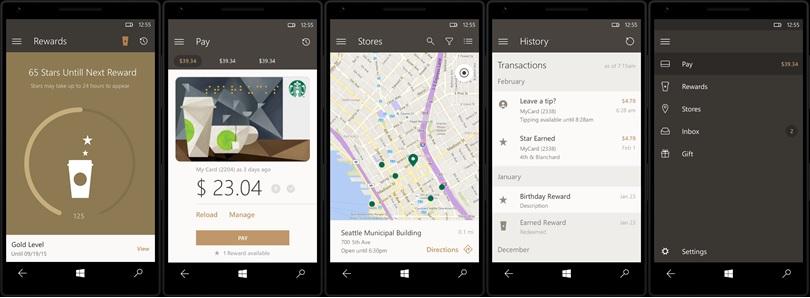 Starbucks App Windows 10 Mobile Screenshots