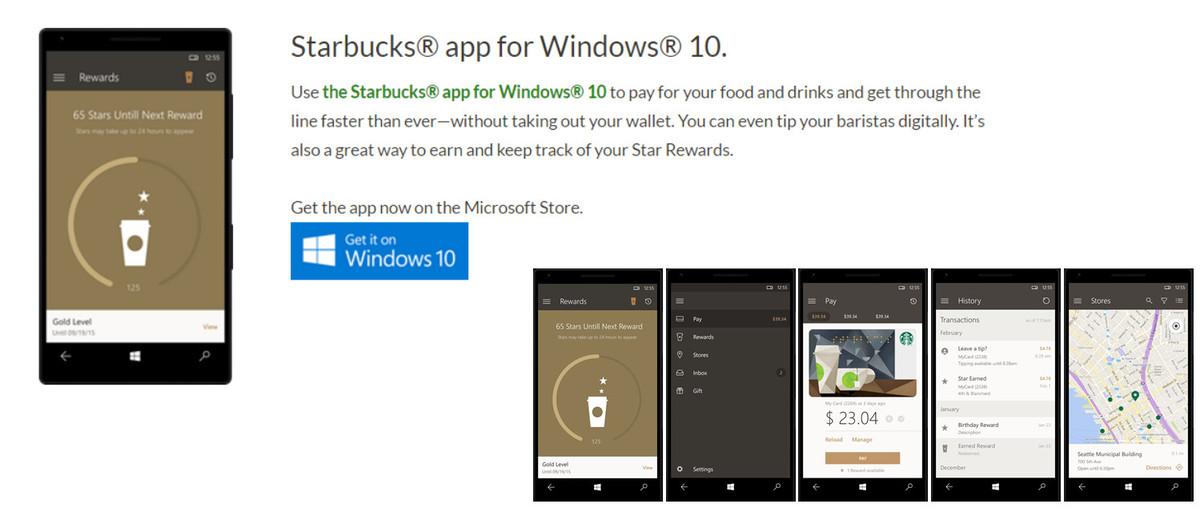 Starbucks App Windows 10 Mobile
