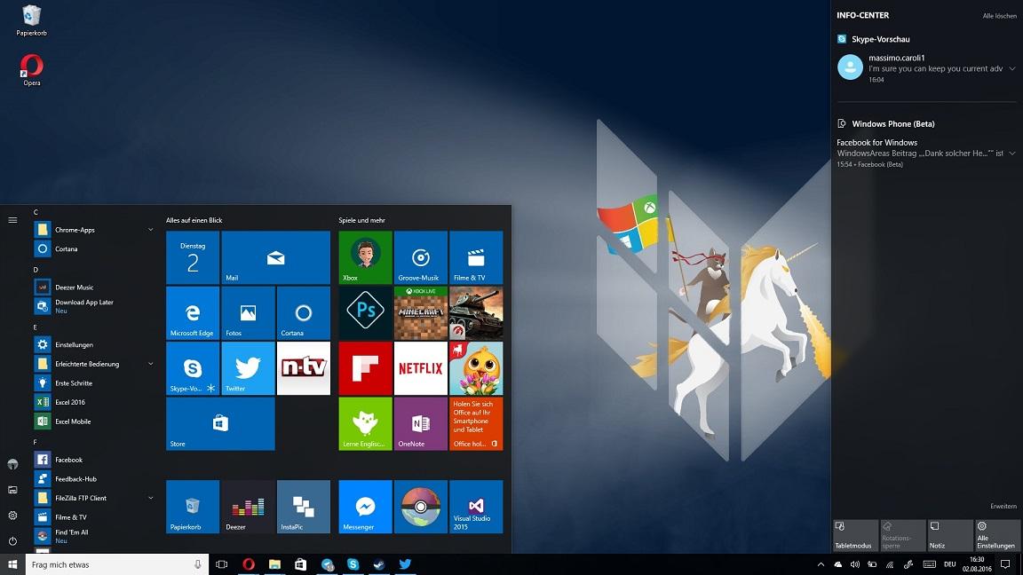 Windows 10 Anniversary Update: Startmenü und Info-Center
